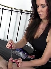 Strapon Jane uses her urethra toy and big strapon on this helpless submissive slave