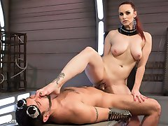 In this sci-fi styled update, latex-clad Mistress Bella Rossi ties and teases her submissive DJ...