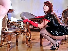 Freaky latex nurse in hot fishnet tights gets worshipped and crammed hard
