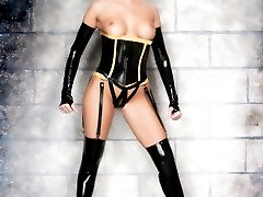 blonde in high heels latex stockings corset