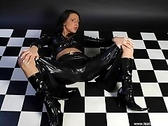Dildo play in leather