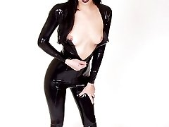 goth babe in skintight shiny leather kitty suit