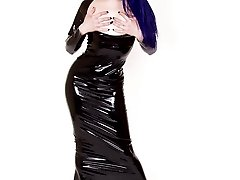 bluehaired punk chick long latex skirt and shotgun