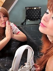 Sapphic gal fulfills her fantasy finding a dildo and riding it with her ass