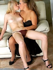 Hot sappho gives a babe encouraging tongue kiss aching for lez interaction