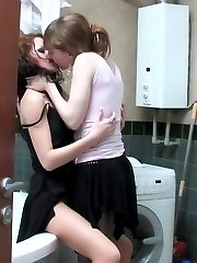 Horny babe in black hose seducing her cute girlfriend into steamy nylon sex