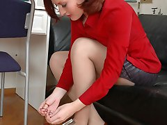 Salacious secretary babes getting down to lick-a-clit action through tights