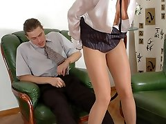 Kinky couple examining fresh co-worker in silky tights at steaming job interview