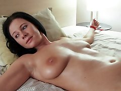 Enza is tied naked fully opened up vibrating faux-cock on her hairy dripping wet honeypot
