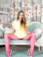 Such a pretty pair of pink pantyhose...with a nice young lady posing...but Alice gets teasing...