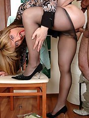 Seductive milf in see-thru panties and barely black hose banged and creamed