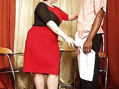 Plump granny gets pumped hard by ebony stud