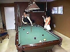 Breezy bent over the pool table for a thorough corporal punishment