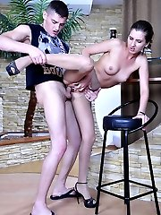 Slim-legged cutie indulges the nylon fetish of her guy screwing in tights