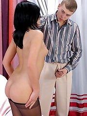 Awesome chick putting on silky pantyhose to enjoy vigorous muff-munching