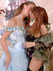 Naughty bride in white stockings tempting a bridesmaid to girl-on-girl sex