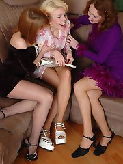 Whenever cuties in sheer pantyhose get together they�re about lez group sex