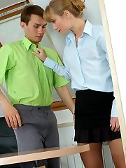 Steamy secretary in tan hose and her co-worker craving for wild sex in Rest Room