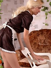 Super-steamy French maid blowing rocky beef whistle while feeling boy�s hand under her tights