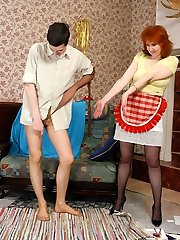 Steamy guy rubbing his nyloned cock against pantyhosed legs of French maid mommy