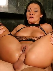 Sandra Romain and Angelica Lane in crotchless fishnet bodystockings having a foursome