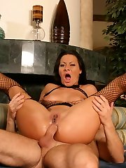 Sandra Romain and Angelica Lane in crotchless fishnet bodystockings having a four-way