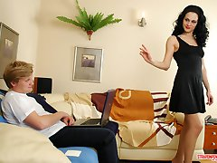 Sweltering brunette gal giving guy a real thrill using her black strap-on