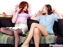Sissy guy munching on gals strap-on after breathtaking anally exploitation