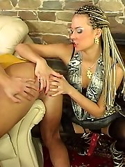 Strap-on armed gal in black stockings giving eager guy perfect anal workout