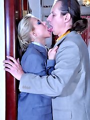 Dressed like a man blondie uses a fat rubber dick for girl-on-guy role play