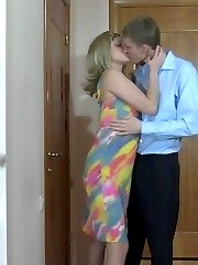 Shocked blonde fits on a strapon dildo and slams the bum of her whoring guy