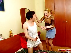 Sexy sissy guy almost getting off feeling gals strap-on tension in his ass