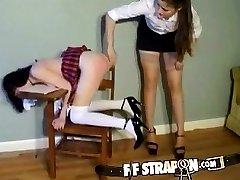 Schoolgirl gets caught misbehaving by lesbian teacher
