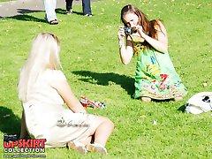 Pretty upskirt girls pose on camera
