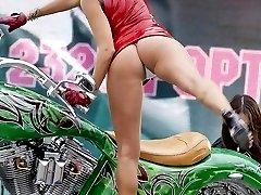 Sassy upskirt girls on bikes