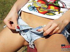 Tiny cotton shorts on sweet teenies