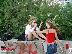 Girls on the grass exclusive upskirt