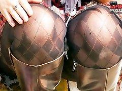 Turning on chicks tiny thong upskirt