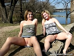 Two naughty flashers going crazy in public places