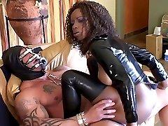 3 vids of a black latex mistress assriding on masked slaves rod