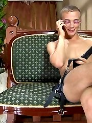 Pissed off chick punishes a naughty sissy boy with a very raw strapon fuck