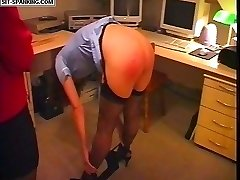 Stocking clad nurse caresses her toes to receive a blistering paddling on her nude upturned ass