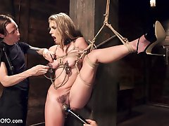 Dirty little slut Kiera Nicole learns to obey. She sucks and fucks a huge cock, while in hardcore bondage.
