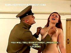 Pretty russian Brunette brutally caned on her hot bared bottom