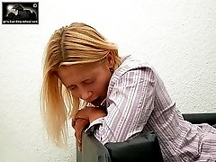 Blonde teeny bent over for pain