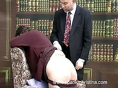 Chubby school woman spanked on her large wobbly ass with thongs down - tears of shame