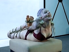 Cute girl in tight restrain bondage crying for mercy