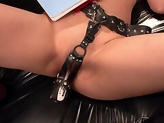 Horny guards fuck hot schoolgirl's muff with toys