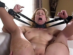 Red faced bondage slut Cherie Deville is brutally anal fucked by boy