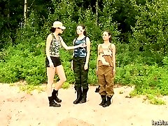 Two military girls trained by a lesbian sergeant